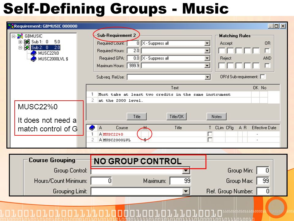 Self-Defining Groups - Music MUSC22%0 It does not need a match control of G NO GROUP CONTROL