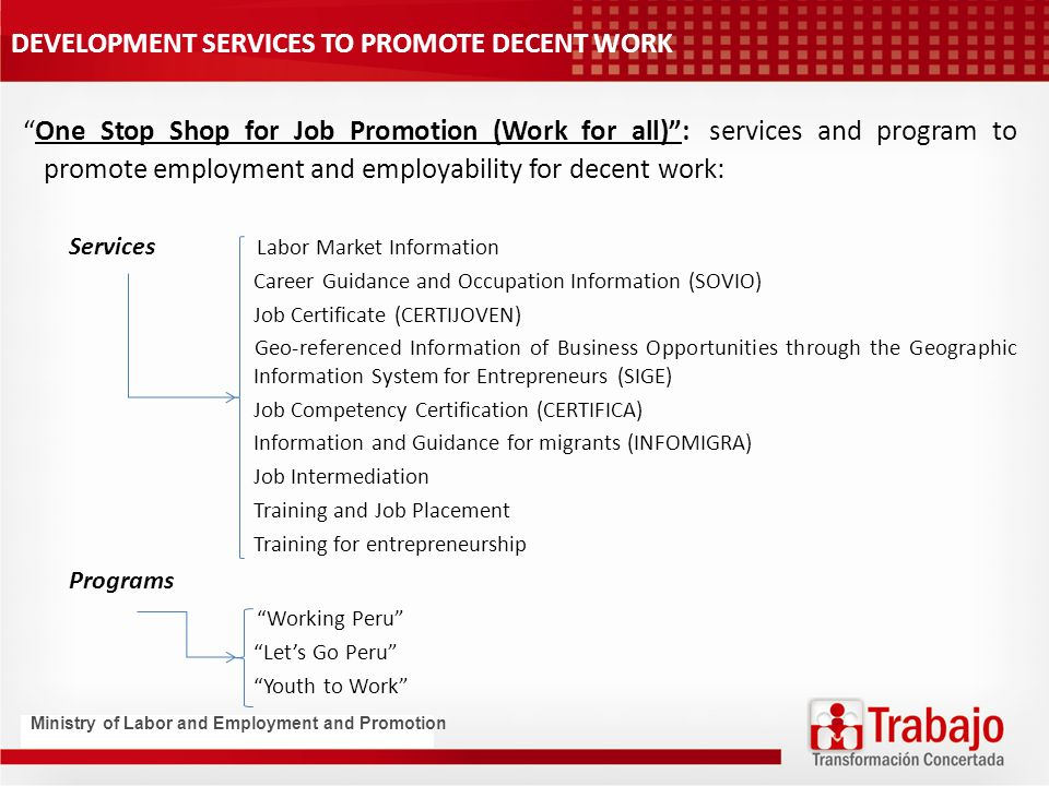 DEVELOPMENT SERVICES TO PROMOTE DECENT WORK One Stop Shop for Job Promotion (Work for all): services and program to promote employment and employability for decent work: Services Labor Market Information Career Guidance and Occupation Information (SOVIO) Job Certificate (CERTIJOVEN) Geo-referenced Information of Business Opportunities through the Geographic Information System for Entrepreneurs (SIGE) Job Competency Certification (CERTIFICA) Information and Guidance for migrants (INFOMIGRA) Job Intermediation Training and Job Placement Training for entrepreneurship Programs Working Peru Lets Go Peru Youth to Work Ministry of Labor and Employment and Promotion