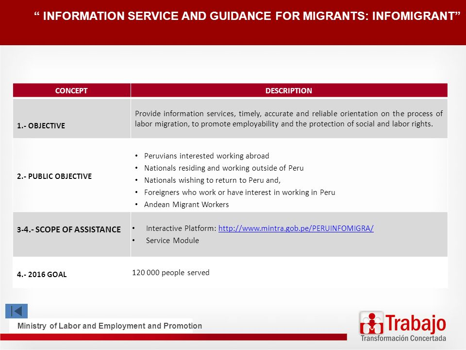 INFORMATION SERVICE AND GUIDANCE FOR MIGRANTS: INFOMIGRANT CONCEPT DESCRIPTION 1.- OBJECTIVE Provide information services, timely, accurate and reliable orientation on the process of labor migration, to promote employability and the protection of social and labor rights.