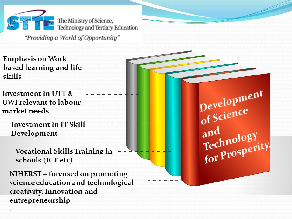 Emphasis on Work based learning and life skills Investment in UTT & UWI relevant to labour market needs Investment in IT Skill Development Vocational Skills Training in schools (ICT etc) NIHERST – forcused on promoting science education and technological creativity, innovation and entrepreneurship..