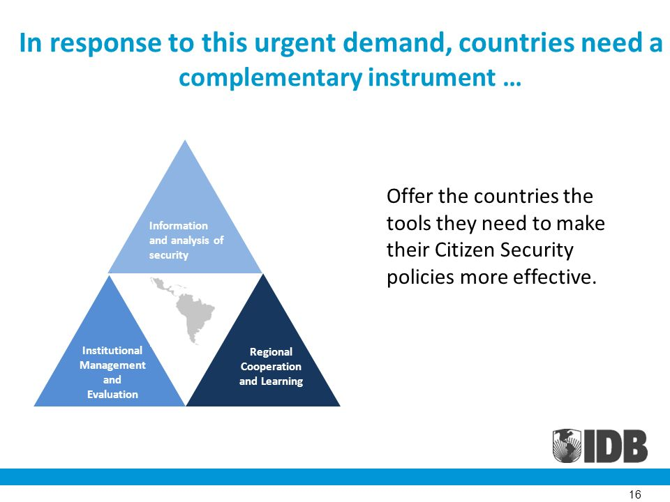 Information and analysis of security Institutional Management and Evaluation Regional Cooperation and Learning In response to this urgent demand, countries need a complementary instrument … 16 Offer the countries the tools they need to make their Citizen Security policies more effective.