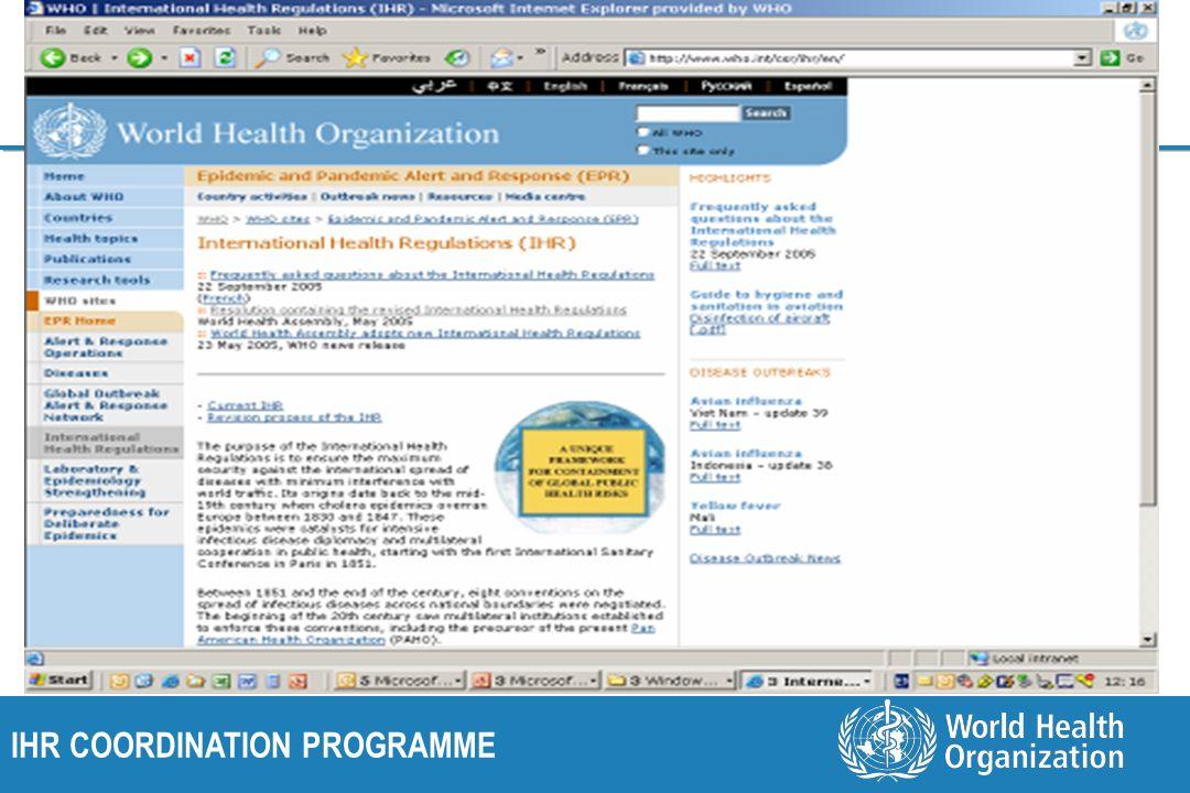 IHR COORDINATION PROGRAMME Information on IHR(2005)