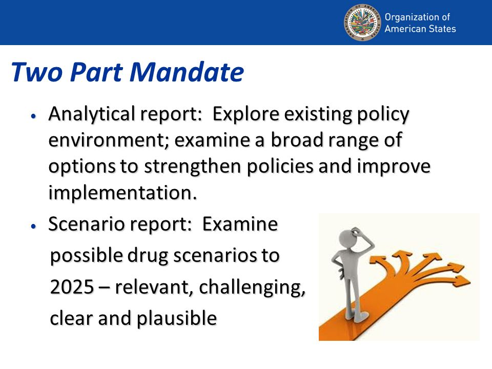 Two Part Mandate Analytical report: Explore existing policy environment; examine a broad range of options to strengthen policies and improve implementation.