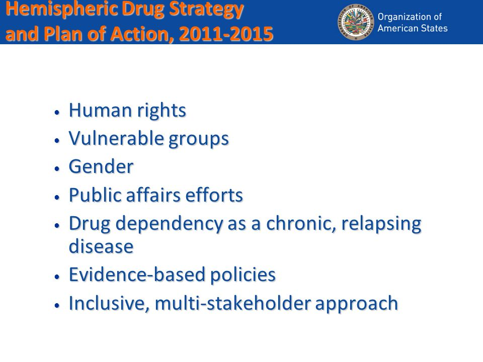 Hemispheric Drug Strategy and Plan of Action, 2011-2015 Human rights Human rights Vulnerable groups Vulnerable groups Gender Gender Public affairs efforts Public affairs efforts Drug dependency as a chronic, relapsing disease Drug dependency as a chronic, relapsing disease Evidence-based policies Evidence-based policies Inclusive, multi-stakeholder approach Inclusive, multi-stakeholder approach
