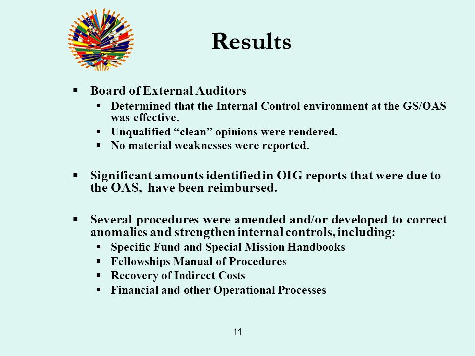 11 Board of External Auditors Determined that the Internal Control environment at the GS/OAS was effective. Unqualified clean opinions were rendered.