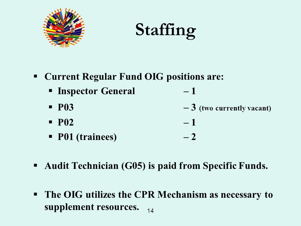 14 Staffing Current Regular Fund OIG positions are: Inspector General – 1 P03 – 3 (two currently vacant) P02 – 1 P01 (trainees) – 2 Audit Technician (