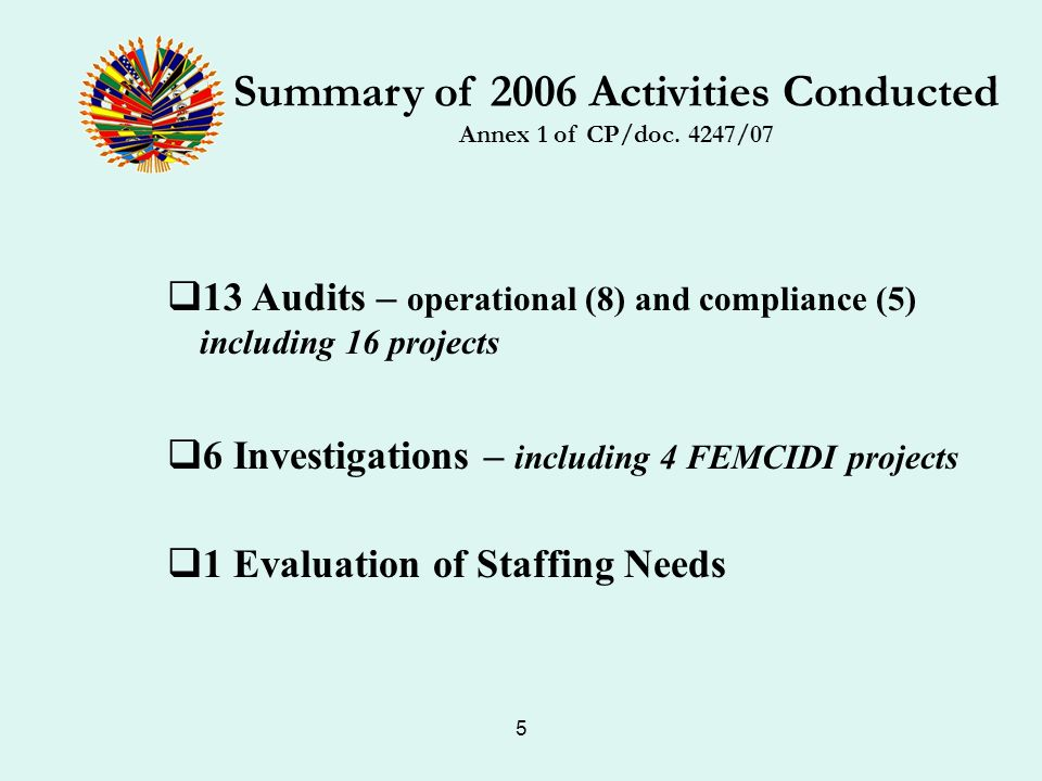 5 Summary of 2006 Activities Conducted Annex 1 of CP/doc.