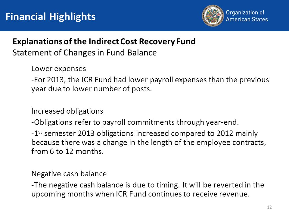 12 Financial Highlights Explanations of the Indirect Cost Recovery Fund Statement of Changes in Fund Balance Lower expenses -For 2013, the ICR Fund had lower payroll expenses than the previous year due to lower number of posts.