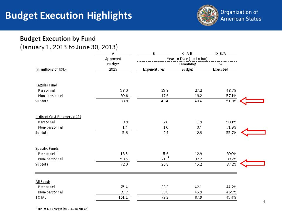 4 Budget Execution Highlights Budget Execution by Fund (January 1, 2013 to June 30, 2013)