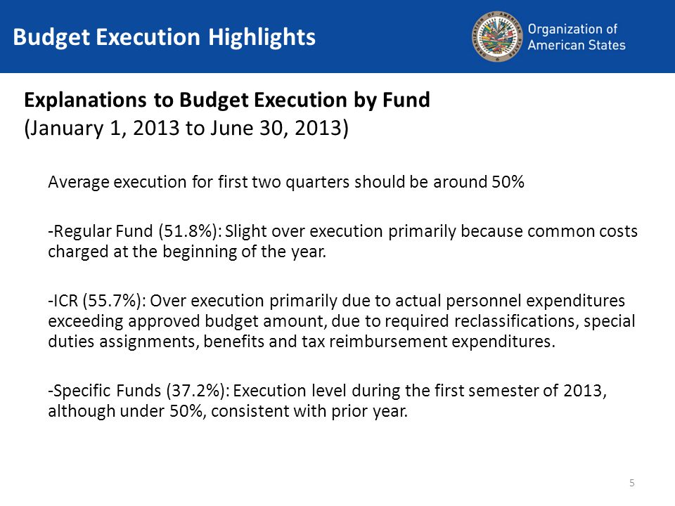 5 Budget Execution Highlights Explanations to Budget Execution by Fund (January 1, 2013 to June 30, 2013) Average execution for first two quarters should be around 50% -Regular Fund (51.8%): Slight over execution primarily because common costs charged at the beginning of the year.