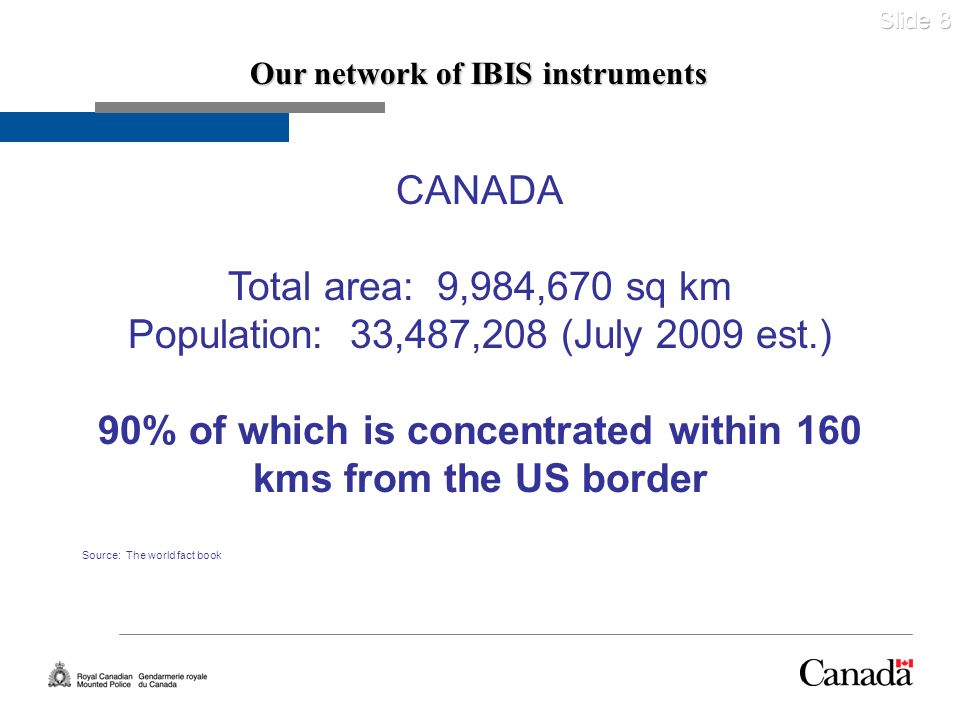 Slide 8 Our network of IBIS instruments CANADA Total area: 9,984,670 sq km Population: 33,487,208 (July 2009 est.) 90% of which is concentrated within