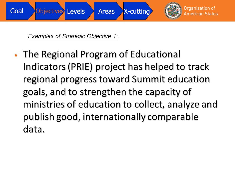 The Regional Program of Educational Indicators (PRIE) project has helped to track regional progress toward Summit education goals, and to strengthen the capacity of ministries of education to collect, analyze and publish good, internationally comparable data.