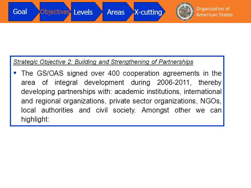 Strategic Objective 2: Building and Strengthening of Partnerships The GS/OAS signed over 400 cooperation agreements in the area of integral development during 2006-2011, thereby developing partnerships with: academic institutions, international and regional organizations, private sector organizations, NGOs, local authorities and civil society.