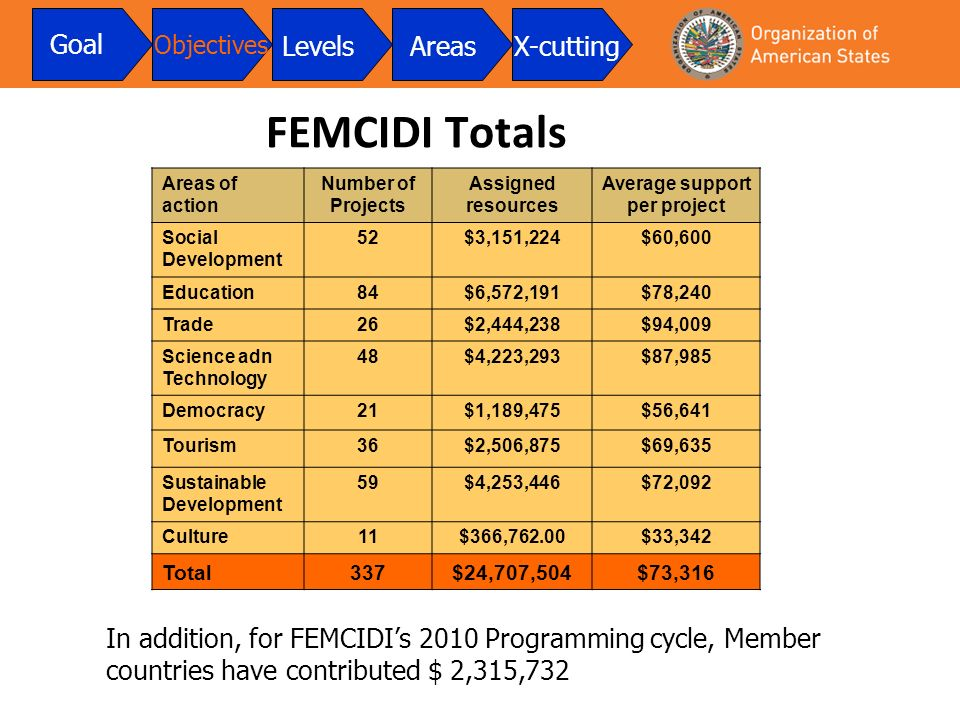 FEMCIDI Totals Areas of action Number of Projects Assigned resources Average support per project Social Development 52$3,151,224$60,600 Education84$6,