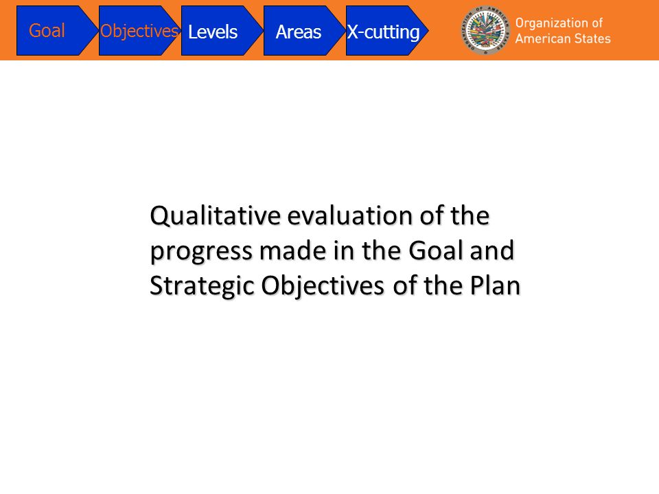 Qualitative evaluation of the progress made in the Goal and Strategic Objectives of the Plan Goal Objectives LevelsAreasX-cutting