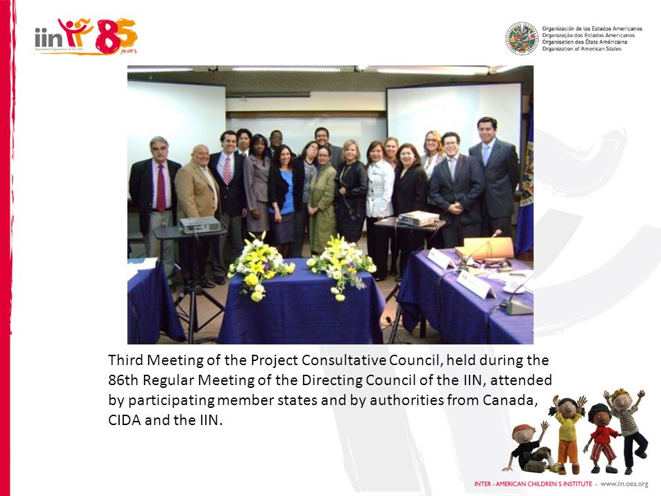Third Meeting of the Project Consultative Council, held during the 86th Regular Meeting of the Directing Council of the IIN, attended by participating