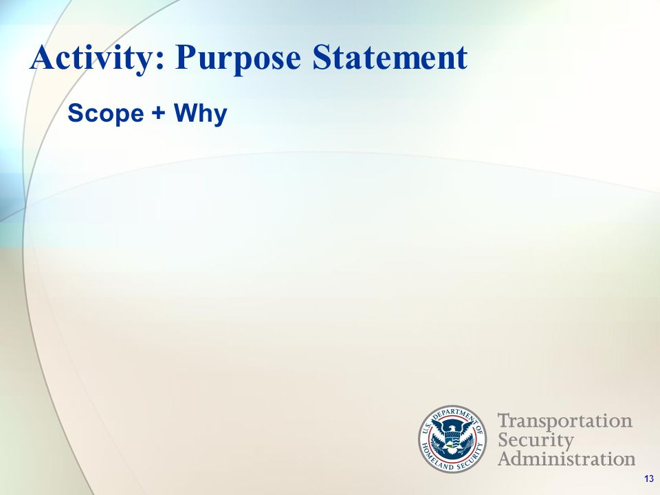Activity: Purpose Statement Scope + Why 13
