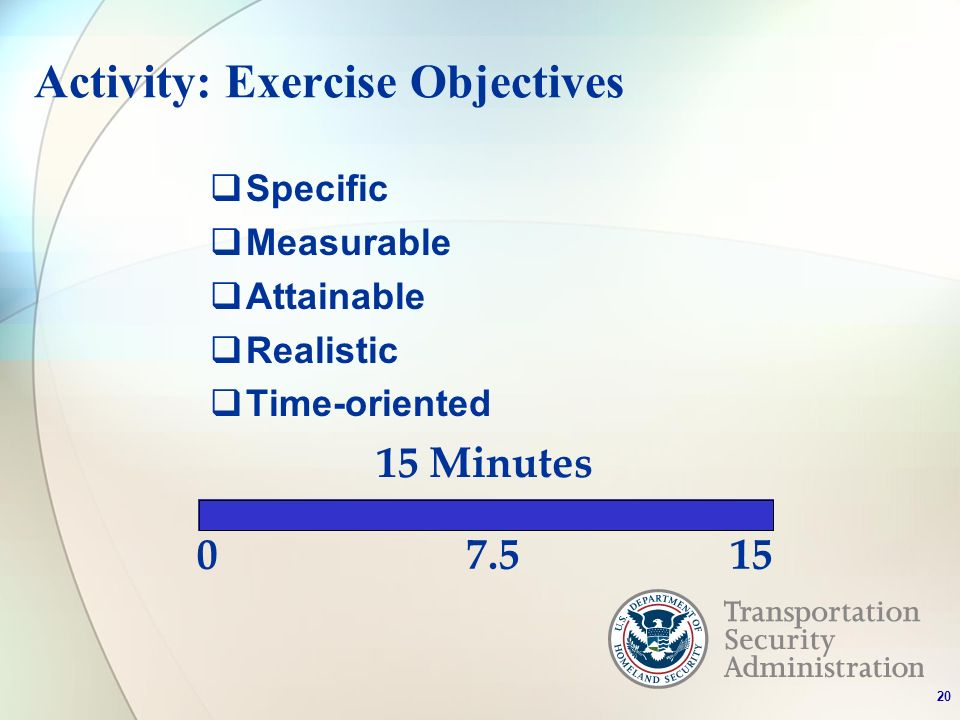 Activity: Exercise Objectives Specific Measurable Attainable Realistic Time-oriented 0 15 Minutes