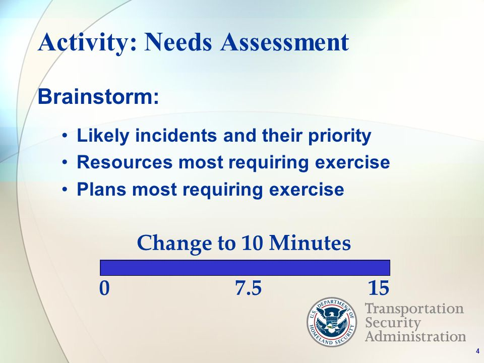 Activity: Needs Assessment Brainstorm: Likely incidents and their priority Resources most requiring exercise Plans most requiring exercise 4 07.515 Change to 10 Minutes