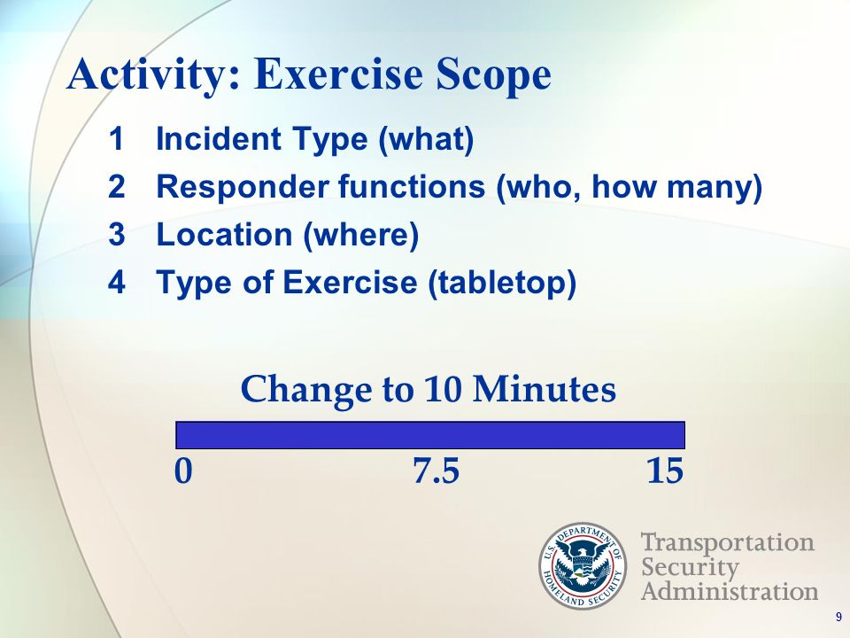 Activity: Exercise Scope 1Incident Type (what) 2Responder functions (who, how many) 3Location (where) 4Type of Exercise (tabletop) 0 Change to 10 Minutes 7.515 9