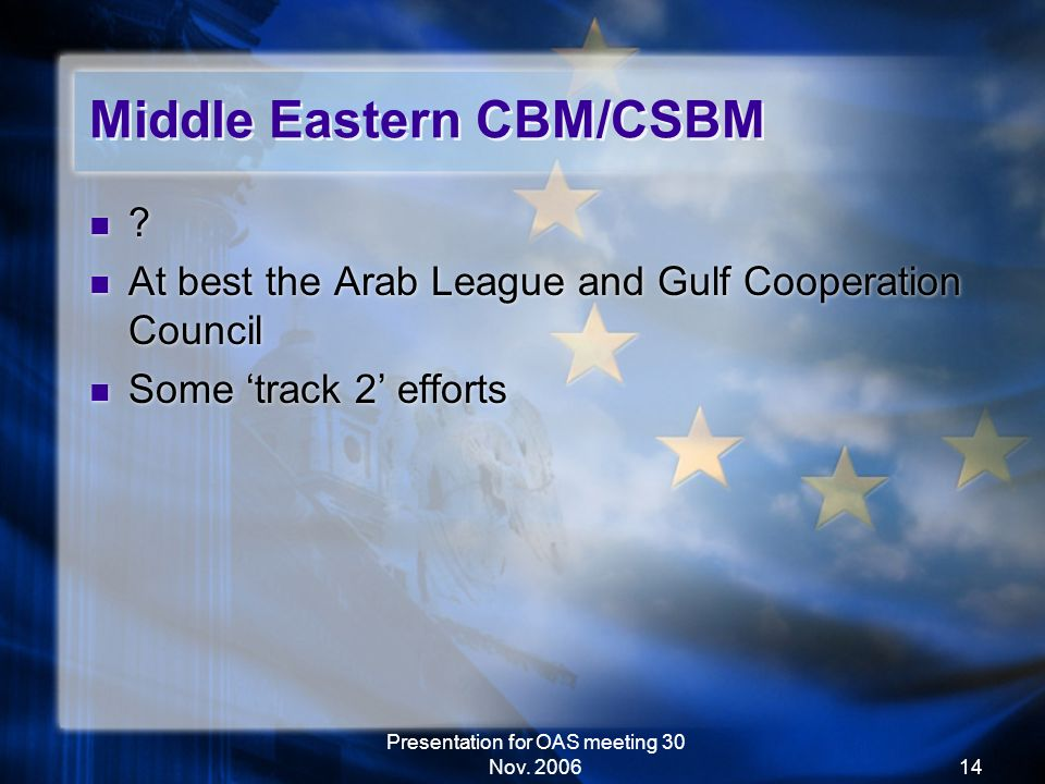 Presentation for OAS meeting 30 Nov. 200614 Middle Eastern CBM/CSBM .