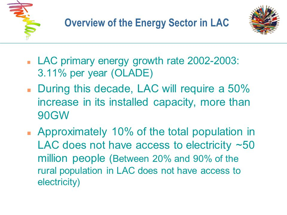 Overview of the Energy Sector in LAC n LAC primary energy growth rate 2002-2003: 3.11% per year (OLADE) n During this decade, LAC will require a 50% i