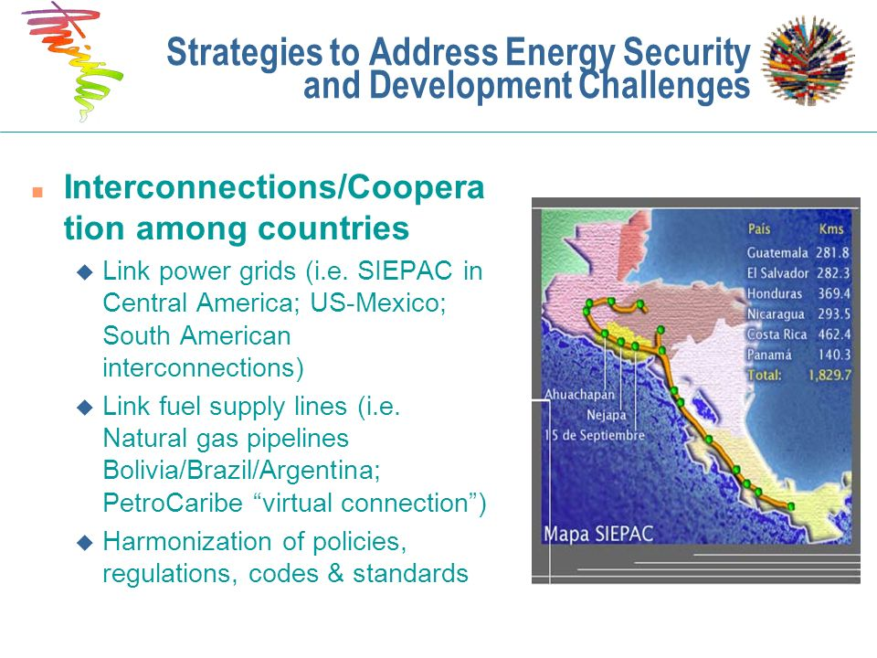 n Interconnections/Coopera tion among countries u Link power grids (i.e. SIEPAC in Central America; US-Mexico; South American interconnections) u Link