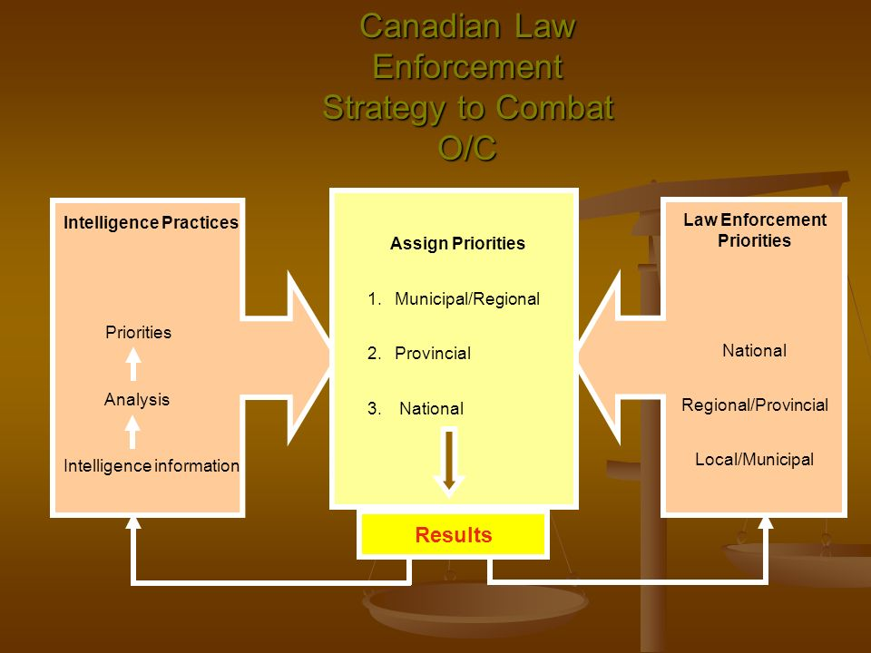 Canadian Law Enforcement Strategy to Combat O/C Assign Priorities 1.Municipal/Regional 2.Provincial 3.National Intelligence Practices Priorities Analy