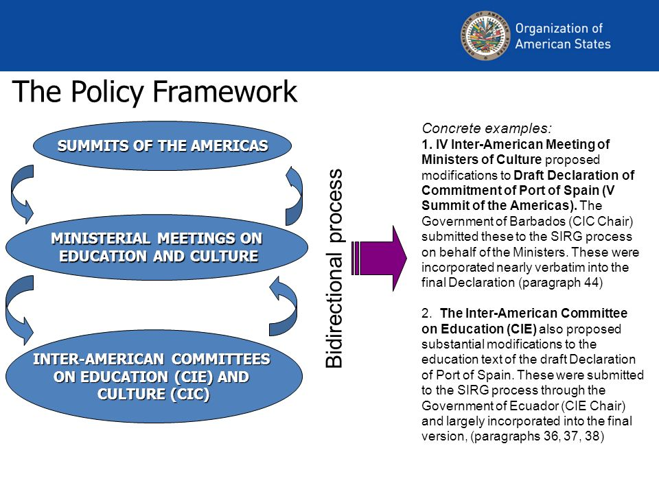 The Policy Framework SUMMITS OF THE AMERICAS MINISTERIAL MEETINGS ON EDUCATION AND CULTURE EDUCATION AND CULTURE INTER-AMERICAN COMMITTEES ON EDUCATION (CIE) AND CULTURE (CIC) Bidirectional process Concrete examples: 1.