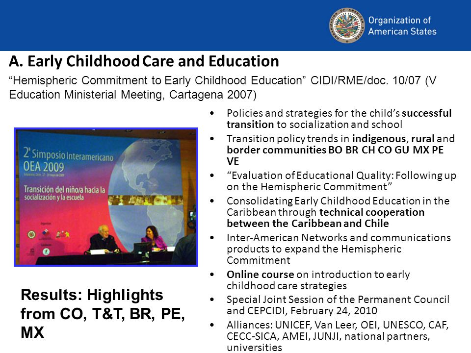 A. Early Childhood Care and Education Policies and strategies for the childs successful transition to socialization and school Transition policy trend