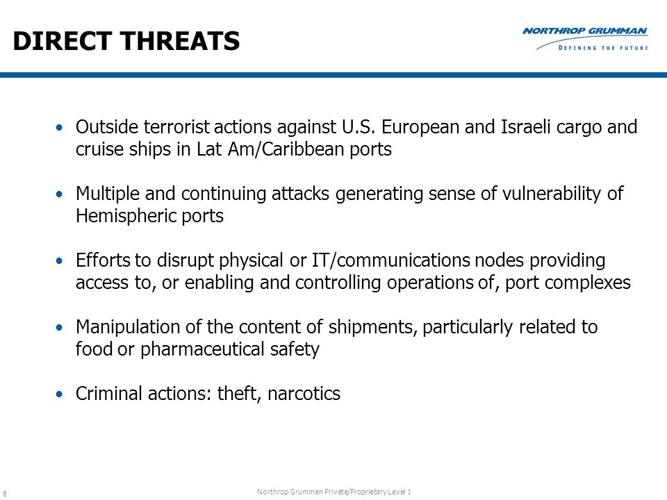 Northrop Grumman Private/Proprietary Level 1 8 DIRECT THREATS Outside terrorist actions against U.S. European and Israeli cargo and cruise ships in La