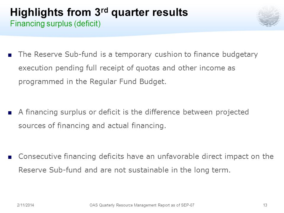 2/11/201413 Highlights from 3 rd quarter results Financing surplus (deficit) The Reserve Sub-fund is a temporary cushion to finance budgetary execution pending full receipt of quotas and other income as programmed in the Regular Fund Budget.