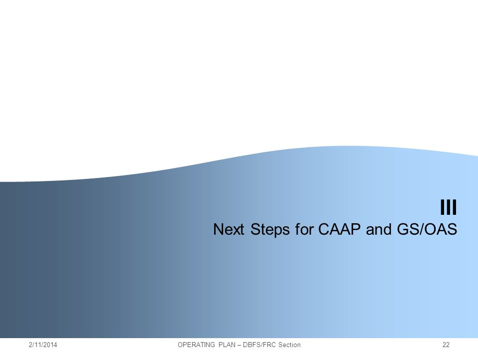 2/11/201422 III Next Steps for CAAP and GS/OAS OPERATING PLAN – DBFS/FRC Section