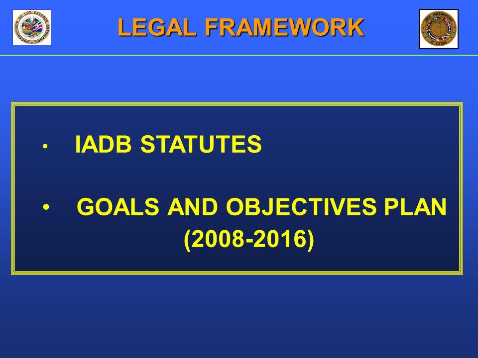 IADB STATUTES GOALS AND OBJECTIVES PLAN (2008-2016) LEGAL FRAMEWORK