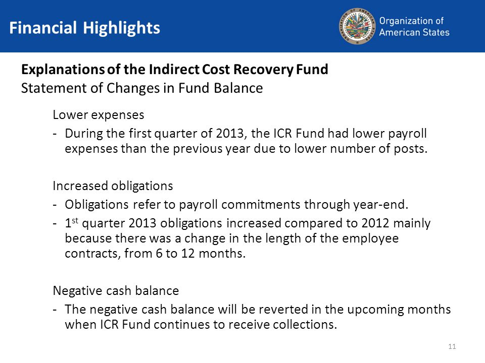 11 Financial Highlights Explanations of the Indirect Cost Recovery Fund Statement of Changes in Fund Balance Lower expenses -During the first quarter of 2013, the ICR Fund had lower payroll expenses than the previous year due to lower number of posts.