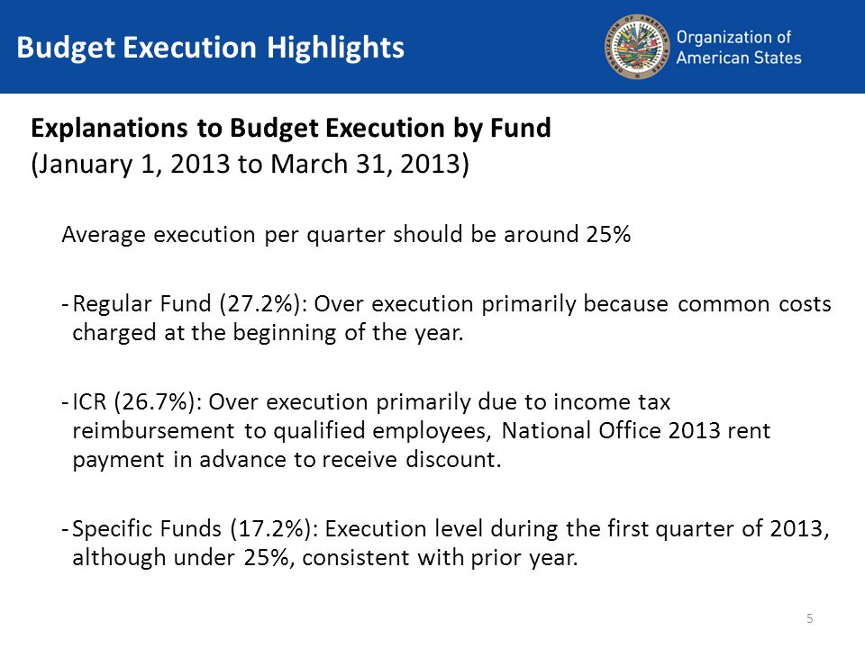 5 Budget Execution Highlights Explanations to Budget Execution by Fund (January 1, 2013 to March 31, 2013) Average execution per quarter should be aro