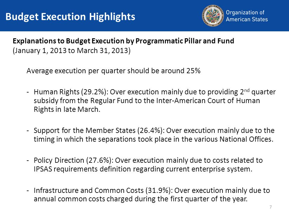 7 Budget Execution Highlights Explanations to Budget Execution by Programmatic Pillar and Fund (January 1, 2013 to March 31, 2013) Average execution per quarter should be around 25% -Human Rights (29.2%): Over execution mainly due to providing 2 nd quarter subsidy from the Regular Fund to the Inter-American Court of Human Rights in late March.