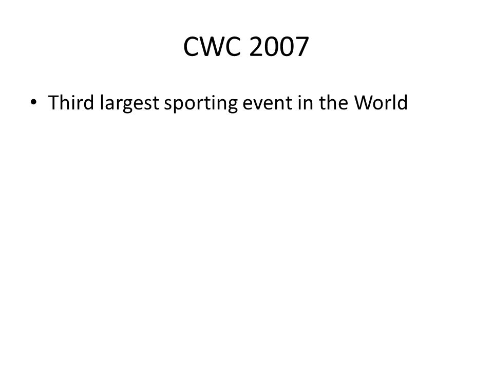 CWC 2007 Third largest sporting event in the World