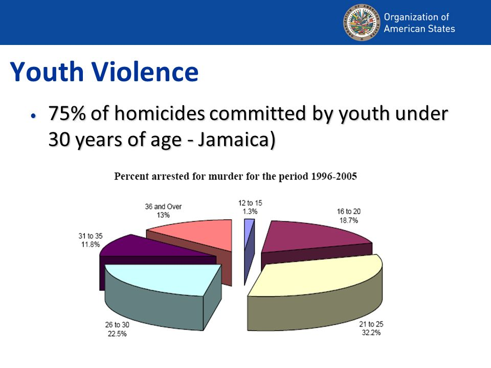 Youth Violence 75% of homicides committed by youth under 30 years of age - Jamaica) 75% of homicides committed by youth under 30 years of age - Jamaica)