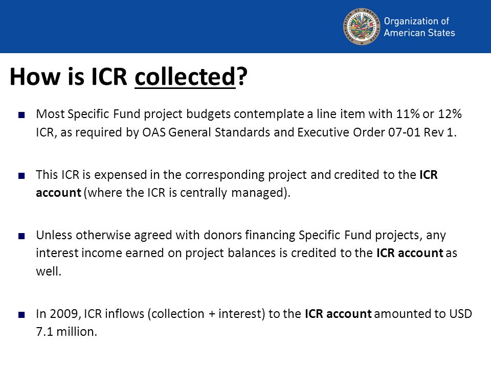 How was ICR collected in 2009?