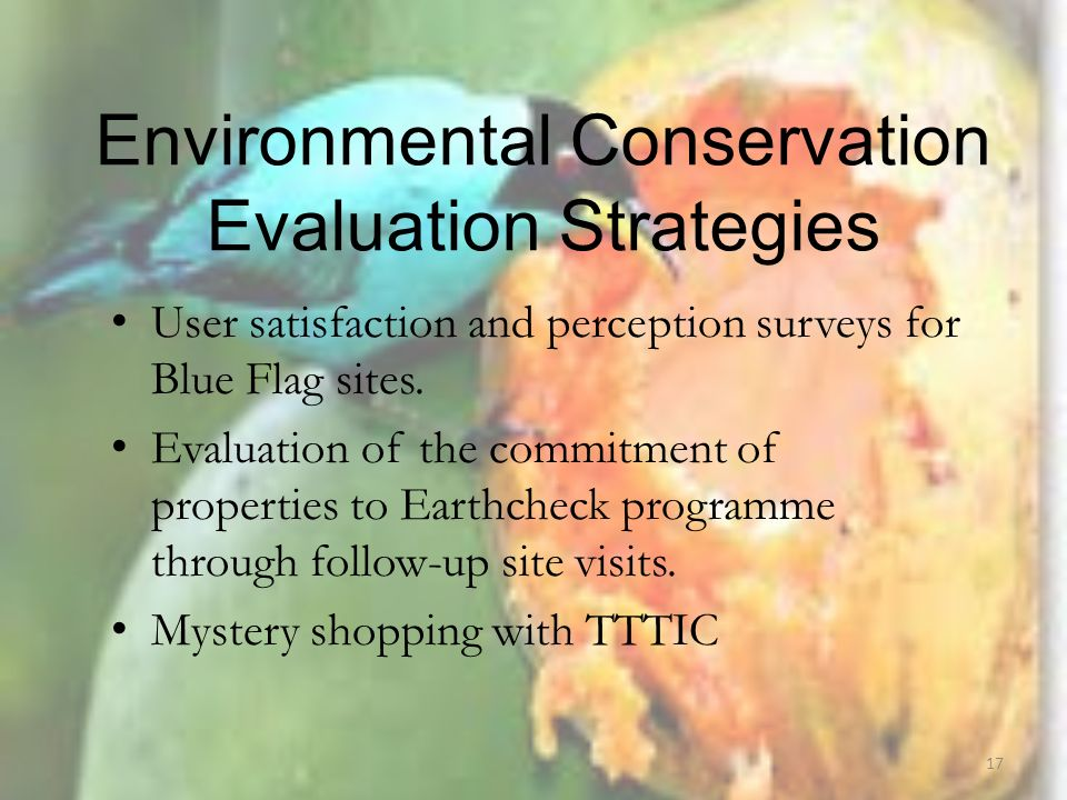 Environmental Conservation Evaluation Strategies User satisfaction and perception surveys for Blue Flag sites.