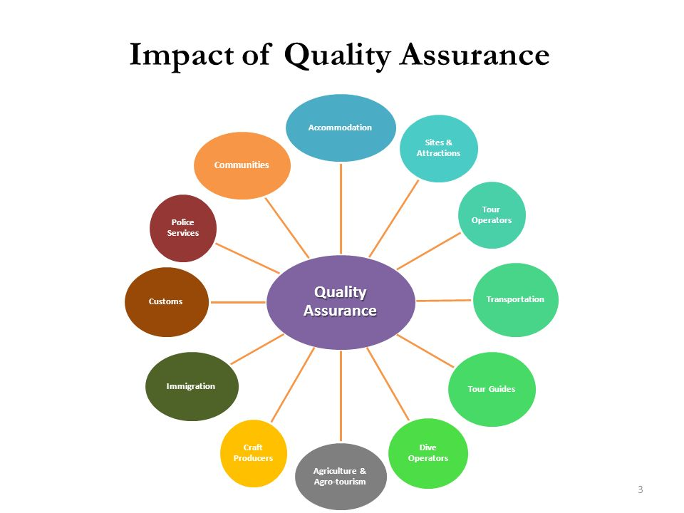 Impact of Quality Assurance Quality Assurance Accommodation Sites & Attractions Tour Operators Transportation Tour Guides Dive Operators Agriculture &