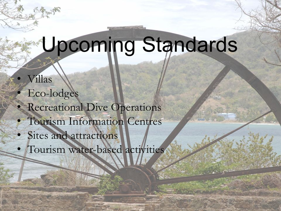 Upcoming Standards Villas Eco-lodges Recreational Dive Operations Tourism Information Centres Sites and attractions Tourism water-based activities 9