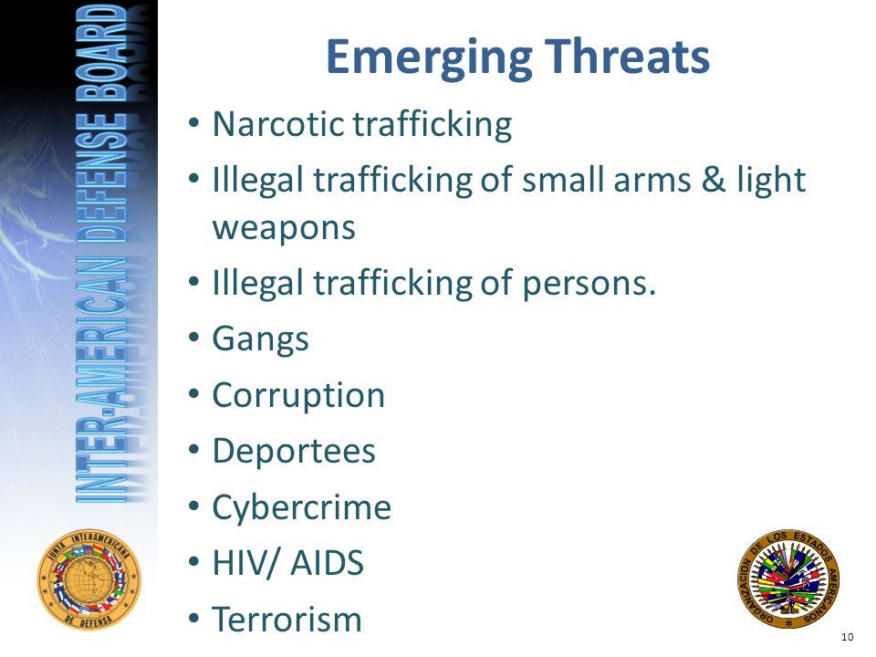 Narcotic trafficking Illegal trafficking of small arms & light weapons Illegal trafficking of persons.