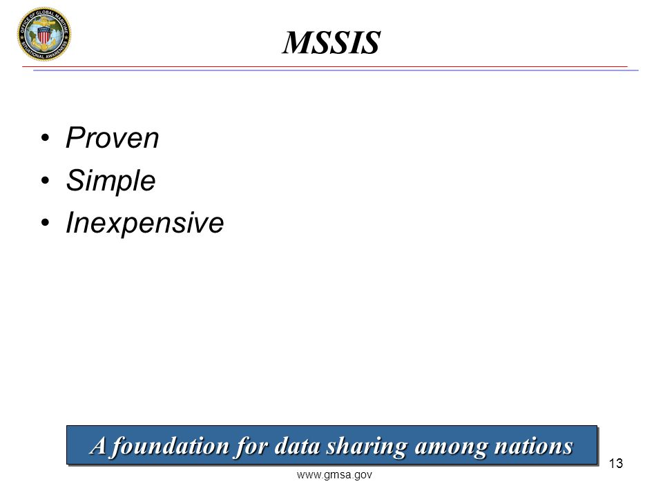 www.gmsa.gov 13 MSSIS Proven Simple Inexpensive A foundation for data sharing among nations