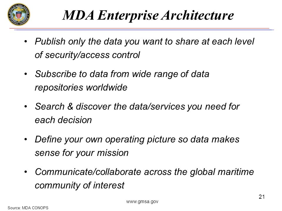 www.gmsa.gov 21 MDA Enterprise Architecture Source: MDA CONOPS Publish only the data you want to share at each level of security/access control Subscribe to data from wide range of data repositories worldwide Search & discover the data/services you need for each decision Define your own operating picture so data makes sense for your mission Communicate/collaborate across the global maritime community of interest
