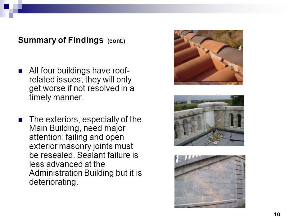 10 Summary of Findings (cont.) All four buildings have roof- related issues; they will only get worse if not resolved in a timely manner. The exterior