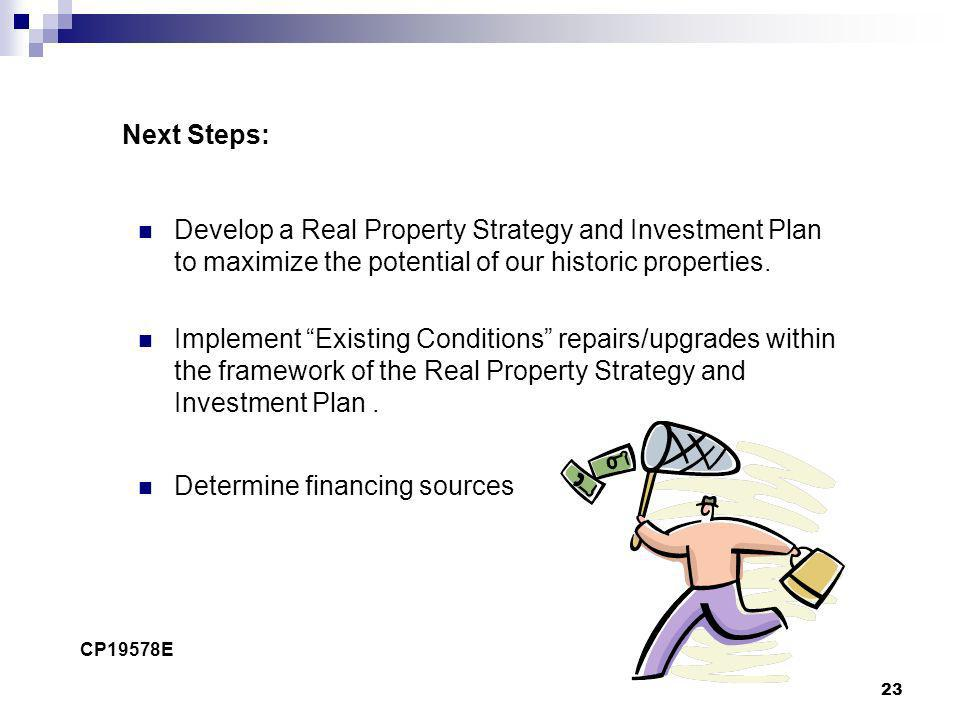 23 Next Steps: Develop a Real Property Strategy and Investment Plan to maximize the potential of our historic properties. Implement Existing Condition