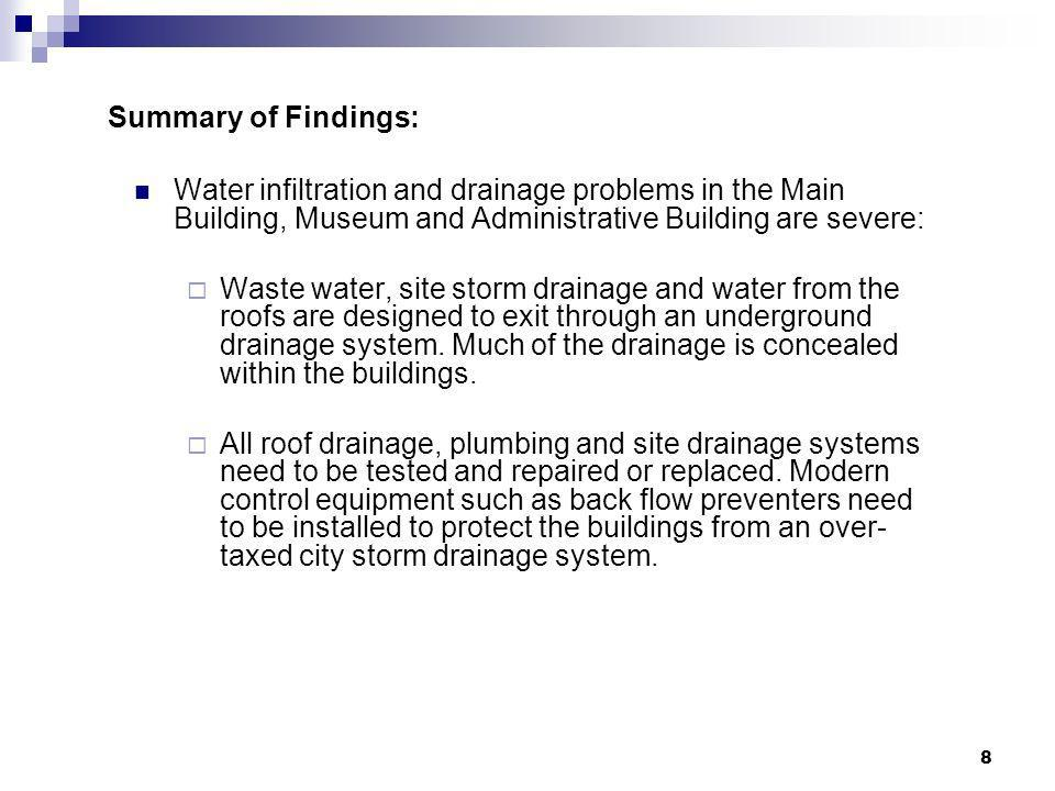 8 Summary of Findings: Water infiltration and drainage problems in the Main Building, Museum and Administrative Building are severe: Waste water, site