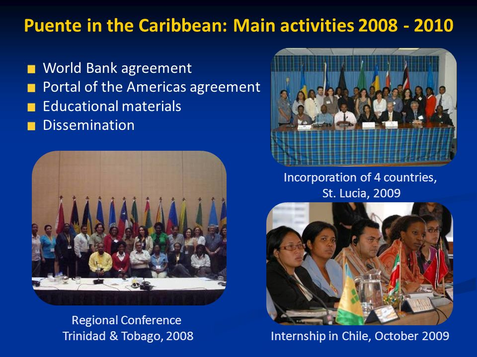 Puente in the Caribbean: Main activities Regional Conference Trinidad & Tobago, 2008 Internship in Chile, October 2009 Incorporation of 4 countries, St.
